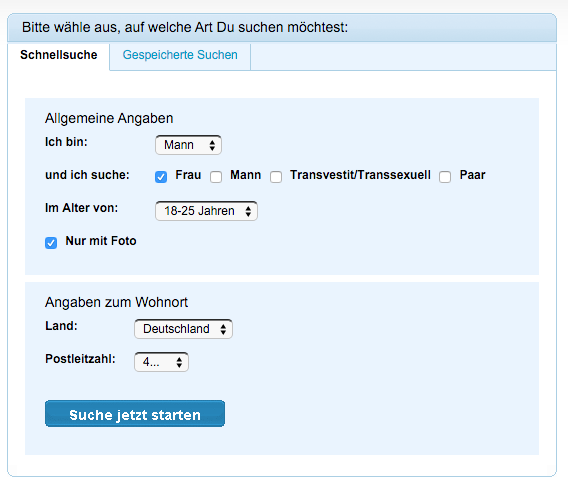 Die Suchfunktionen auf Fickzeit.com