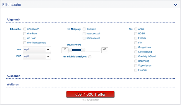 So sieht die Filtersuchfunktion auf Date4Sex.com aus